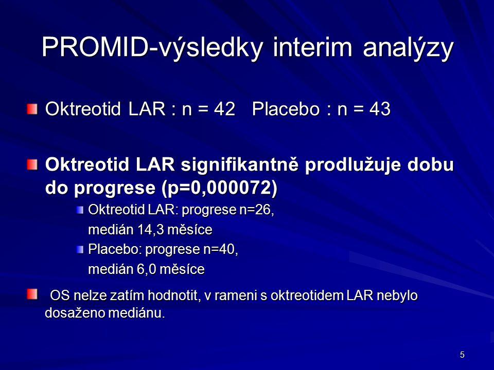 5 PROMID-výsledky interim analýzy Oktreotid LAR : n = 42 Placebo : n = 43 Oktreotid LAR signifikantně prodlužuje dobu do progrese (p=0,000072) Oktreotid LAR: progrese n=26, medián 14,3 měsíce Placebo: progrese n=40, medián 6,0 měsíce OS nelze zatím hodnotit, v rameni s oktreotidem LAR nebylo dosaženo mediánu.