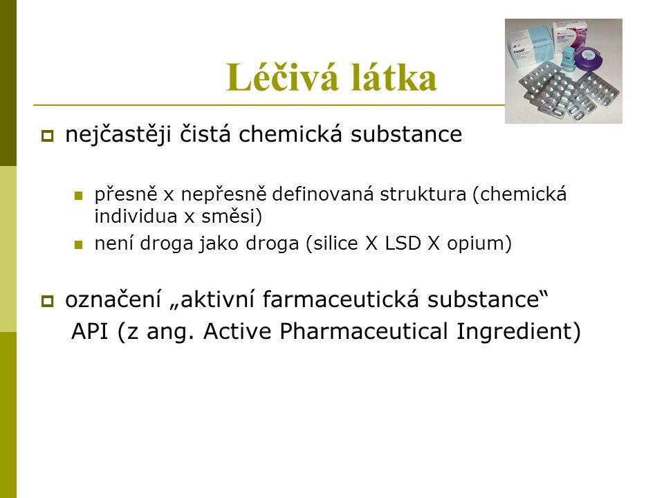 Léčivá látka  nejčastěji čistá chemická substance přesně x nepřesně definovaná struktura (chemická individua x směsi) není droga jako droga (silice X