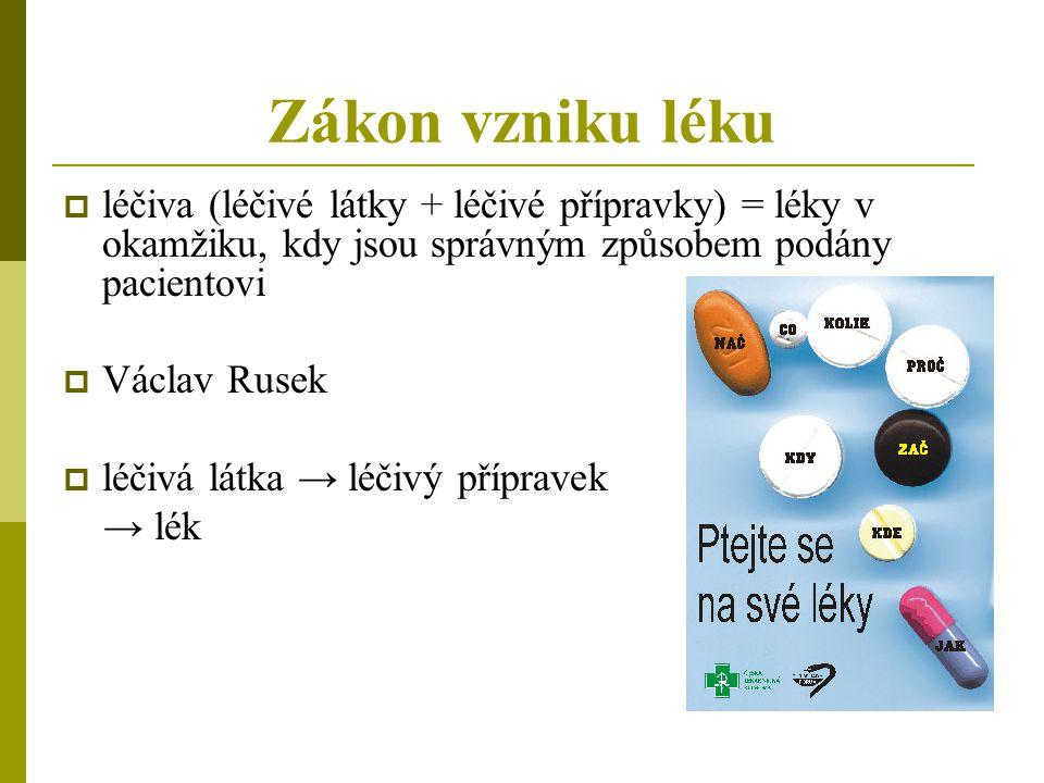 Zákon vzniku léku  léčiva (léčivé látky + léčivé přípravky) = léky v okamžiku, kdy jsou správným způsobem podány pacientovi  Václav Rusek  léčivá l