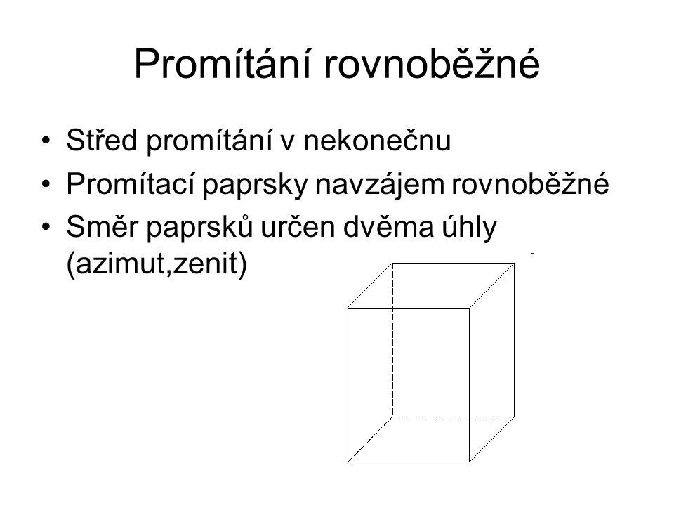 Promítání rovnoběžné Střed promítání v nekonečnu Promítací paprsky navzájem rovnoběžné Směr paprsků určen dvěma úhly (azimut,zenit)