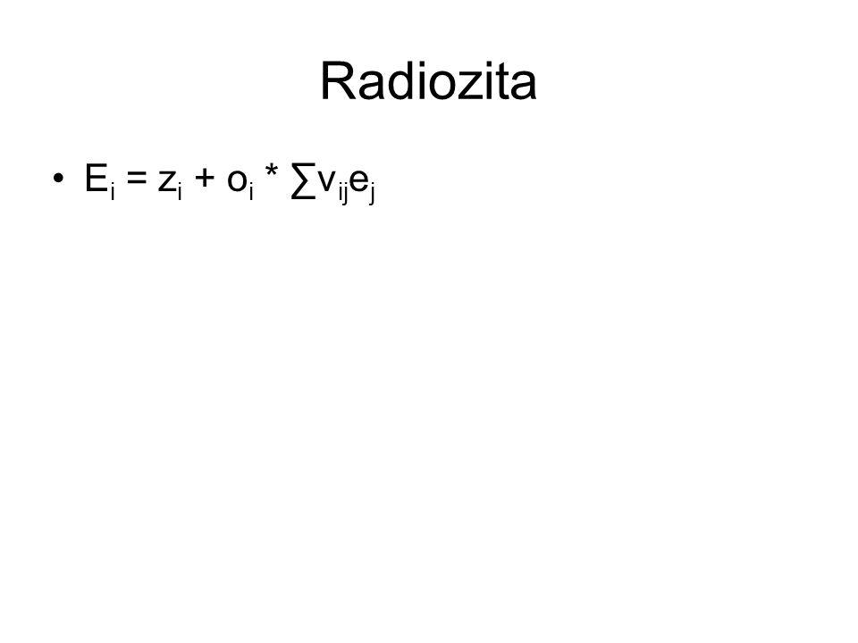 Radiozita E i = z i + o i * ∑v ij e j