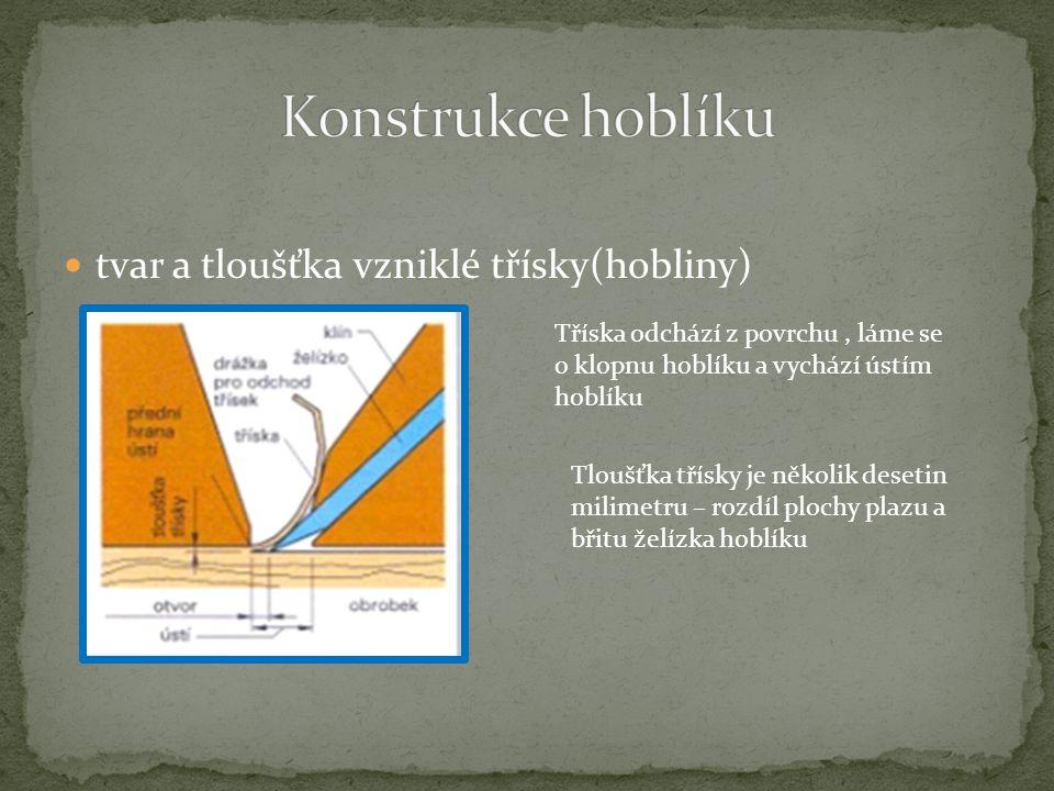 tvar a tloušťka vzniklé třísky(hobliny) Tříska odchází z povrchu, láme se o klopnu hoblíku a vychází ústím hoblíku Tloušťka třísky je několik desetin milimetru – rozdíl plochy plazu a břitu želízka hoblíku