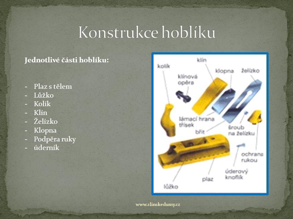 www.zlinskedumy.cz Jednotlivé části hoblíku: -Plaz s tělem -Lůžko -Kolík -Klín -Želízko -Klopna -Podpěra ruky -úderník