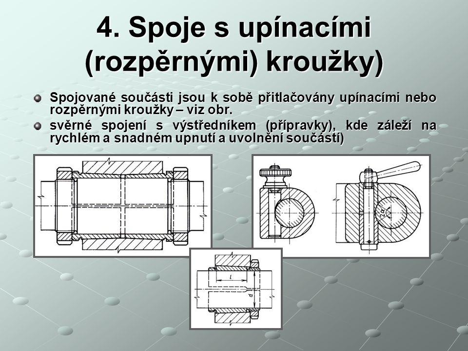 4. Spoje s upínacími (rozpěrnými) kroužky) Spojované součásti jsou k sobě přitlačovány upínacími nebo rozpěrnými kroužky – viz obr. svěrné spojení s v