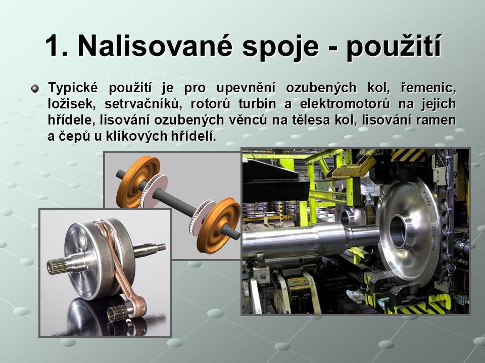 1. Nalisované spoje - použití Typické použití je pro upevnění ozubených kol, řemenic, ložisek, setrvačníků, rotorů turbin a elektromotorů na jejich hř
