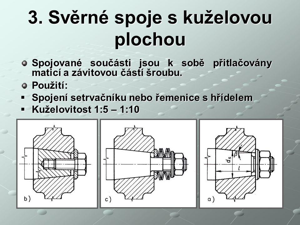 3. Svěrné spoje s kuželovou plochou Spojované součásti jsou k sobě přitlačovány maticí a závitovou částí šroubu. Použití:  Spojení setrvačníku nebo ř