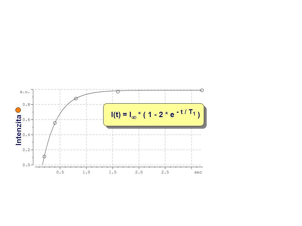 Intenzita I(t) = I  * ( 1 - 2 * e - t / T 1 )