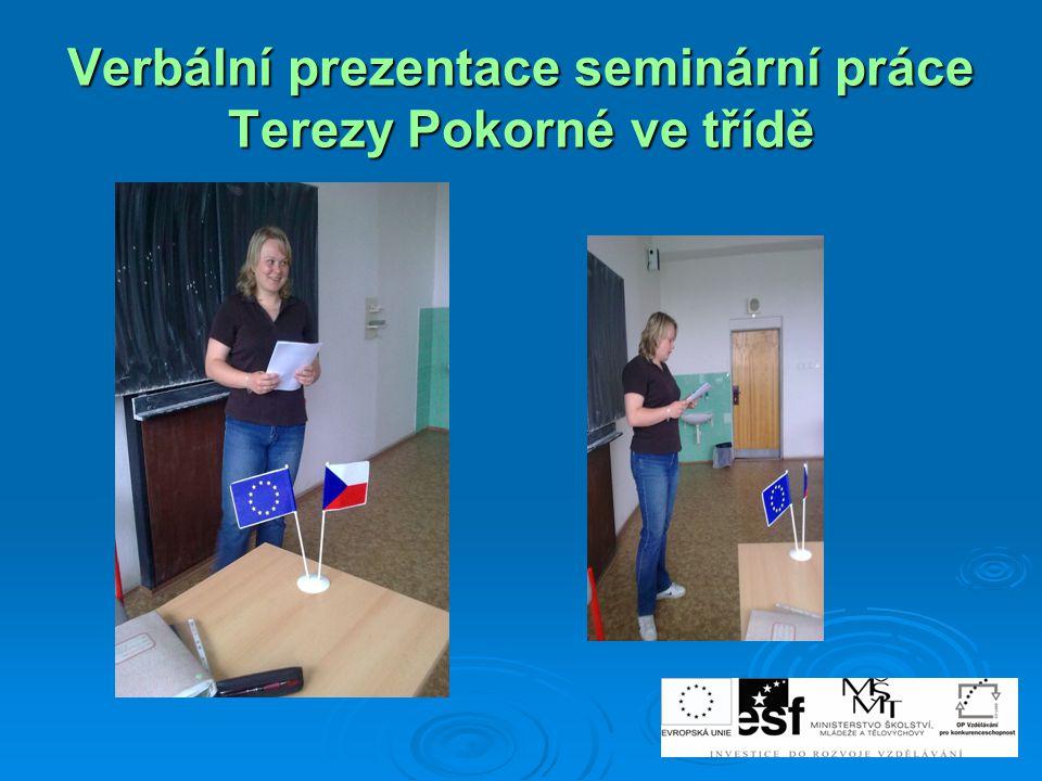 Verbální prezentace seminární práce Terezy Pokorné ve třídě