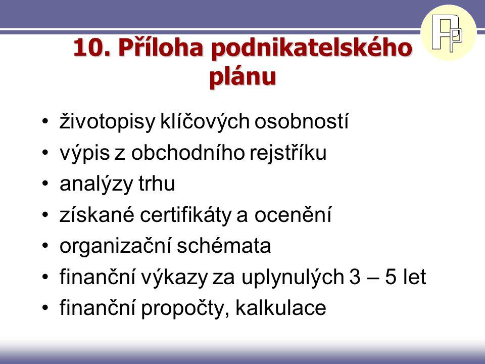 9. Finanční plán Předpokládaný vývoj finanční situace Omezit se na podstatné údaje (podrobné propočty zařadit do přílohy) Obsah –Rozvaha –Výkaz zisků