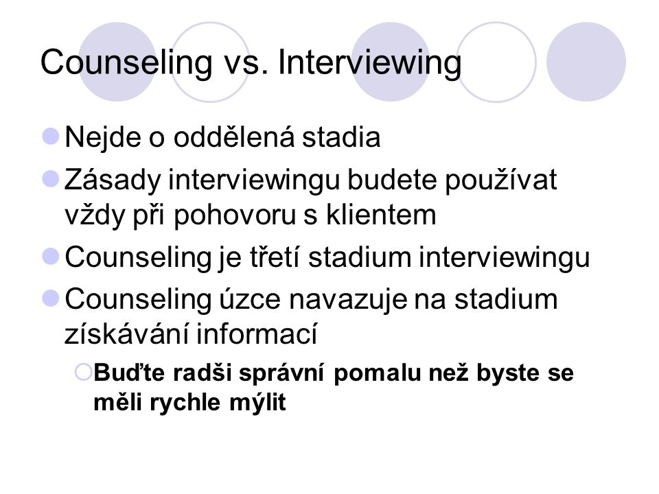 Counseling vs.
