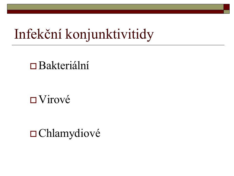 Infekční konjunktivitidy  Bakteriální  Virové  Chlamydiové