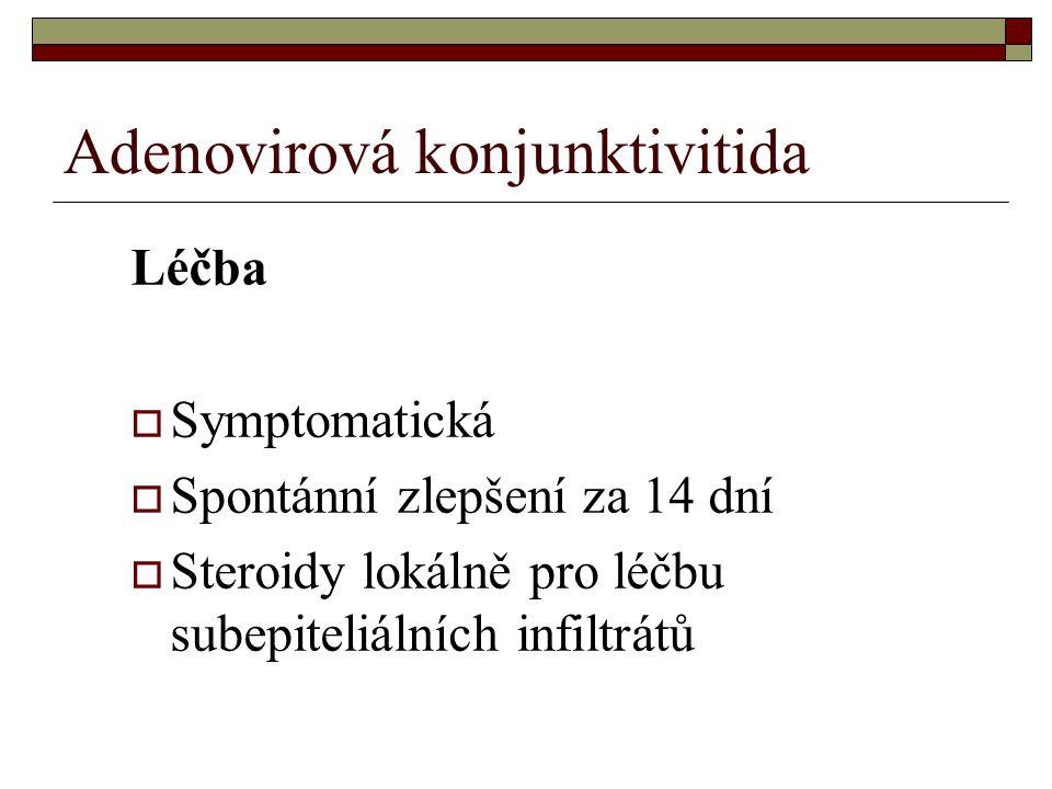 Adenovirová konjunktivitida Léčba  Symptomatická  Spontánní zlepšení za 14 dní  Steroidy lokálně pro léčbu subepiteliálních infiltrátů
