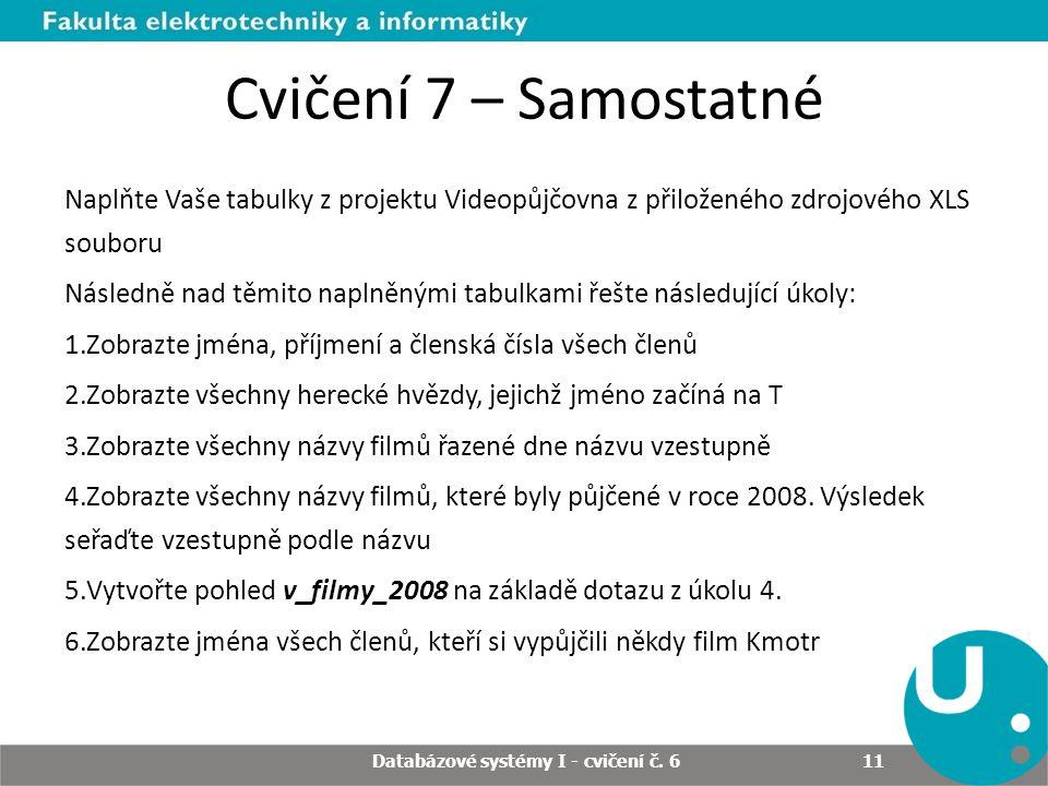 Databázové systémy I - cvičení č.