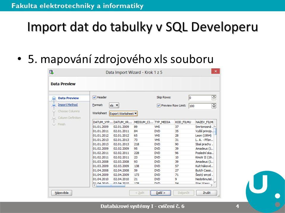 Import dat do tabulky v SQL Developeru 6.