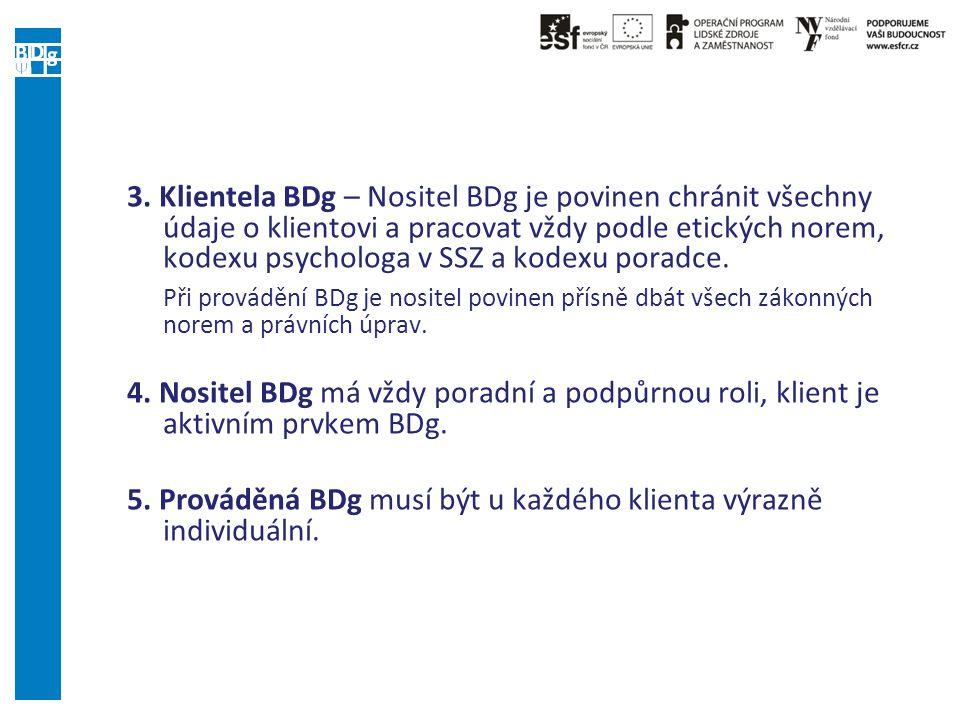 3. Klientela BDg – Nositel BDg je povinen chránit všechny údaje o klientovi a pracovat vždy podle etických norem, kodexu psychologa v SSZ a kodexu por