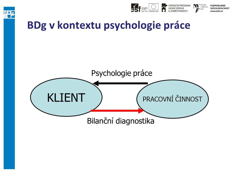 BDg v kontextu psychologie práce KLIENT PRACOVNÍ ČINNOST Psychologie práce Bilanční diagnostika