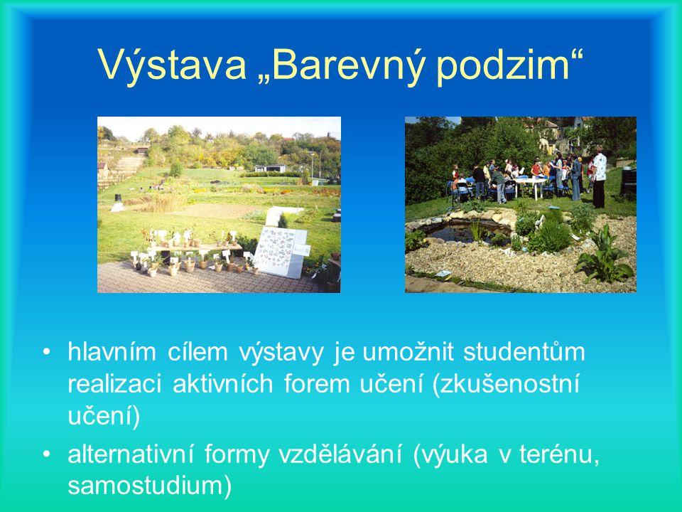 """Výstava """"Barevný podzim hlavním cílem výstavy je umožnit studentům realizaci aktivních forem učení (zkušenostní učení) alternativní formy vzdělávání (výuka v terénu, samostudium)"""
