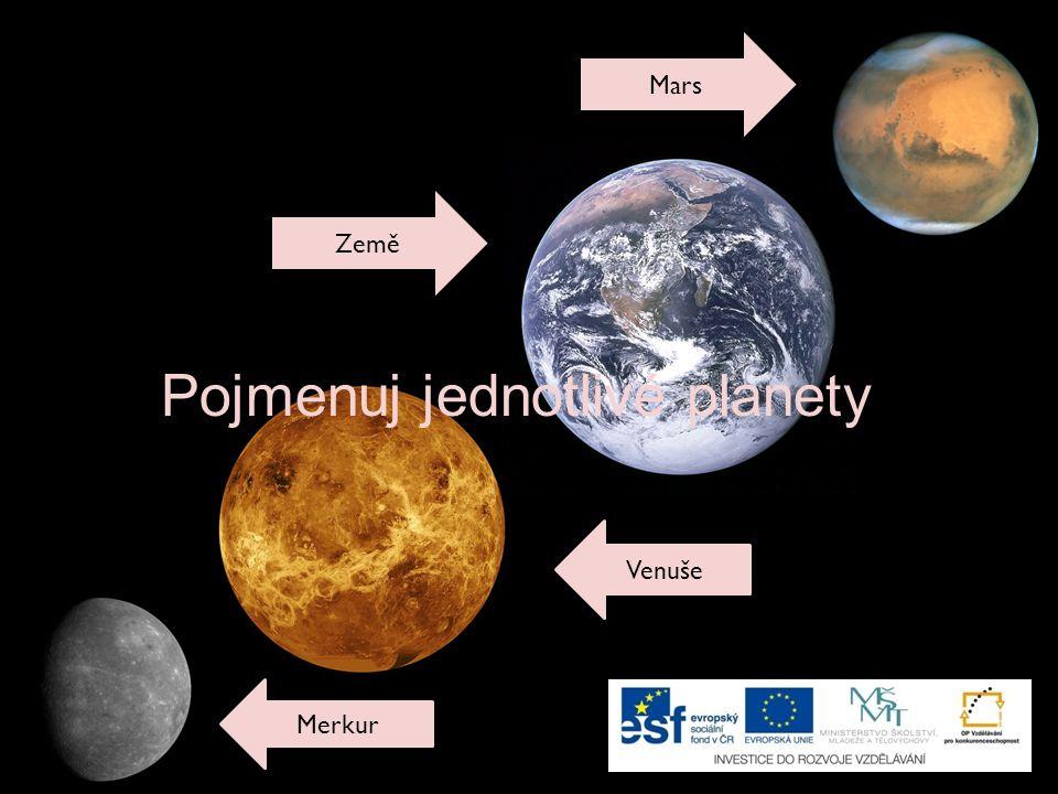 Merkur Mars Země Venuše Pojmenuj jednotlivé planety