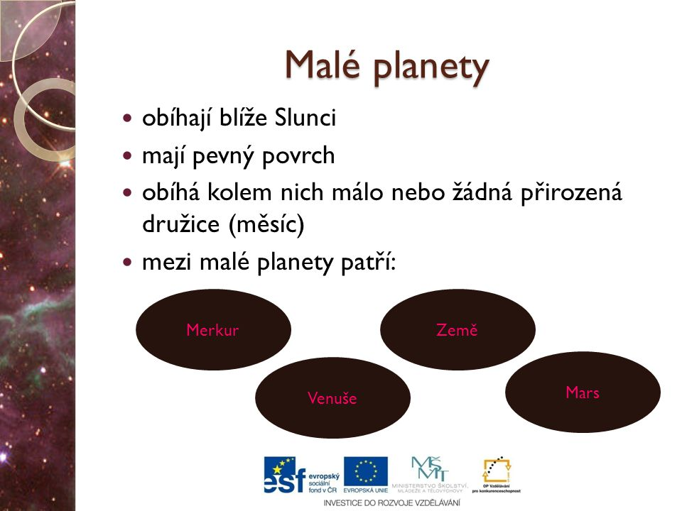 Malé planety obíhají blíže Slunci mají pevný povrch obíhá kolem nich málo nebo žádná přirozená družice (měsíc) mezi malé planety patří: Merkur Venuše