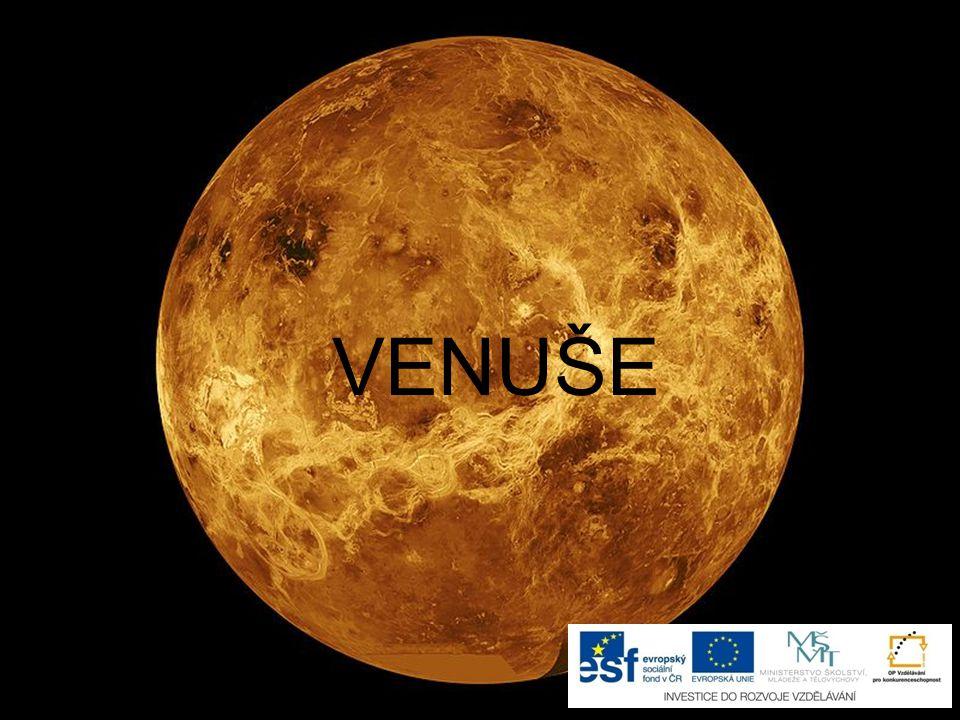 Venuše je druhá planeta sluneční soustavy má pevný skalnatý povrch s činnými sopkami je zahalena do hustého nedýchatelného plynu, který funguje jako skleník (proto je nejžhavější planetou) na obloze ji můžeme pozorovat krátce před východem nebo před západem Slunce (říká se jí Jitřenka nebo Večernice) nemá žádnou přirozenou družici název dostala podle římské bohyně krásy a lásky
