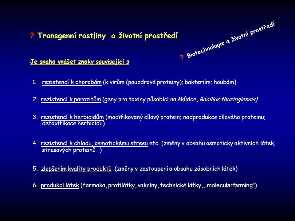 Je snaha vnášet znaky související s 1. rezistencí k chorobám (k virům (pouzdrové proteiny); bakteriím; houbám) 2. rezistencí k parazitům (geny pro tox