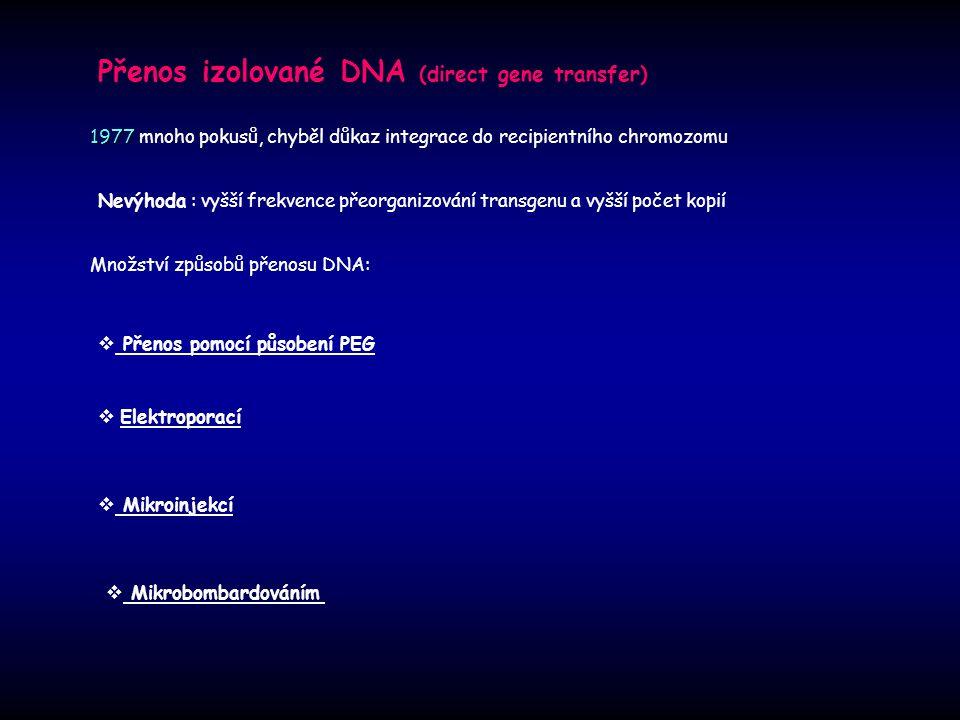 Přenos izolované DNA (direct gene transfer) 1977 1977 mnoho pokusů, chyběl důkaz integrace do recipientního chromozomu Množství způsobů přenosu DNA: N