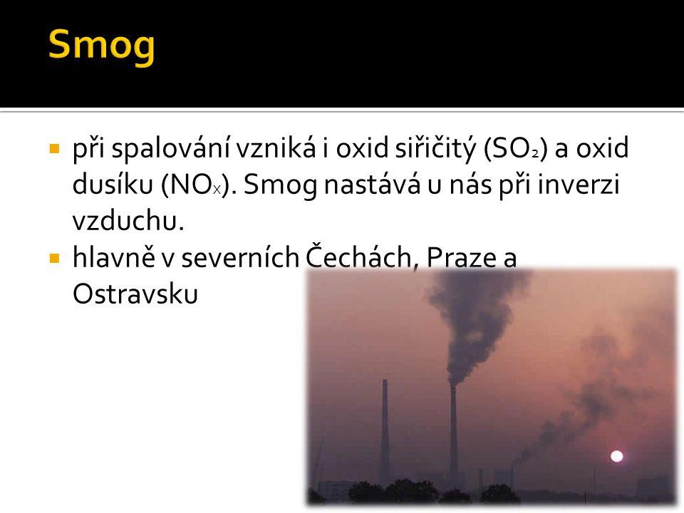  při spalování vzniká i oxid siřičitý (SO 2 ) a oxid dusíku (NO X ).
