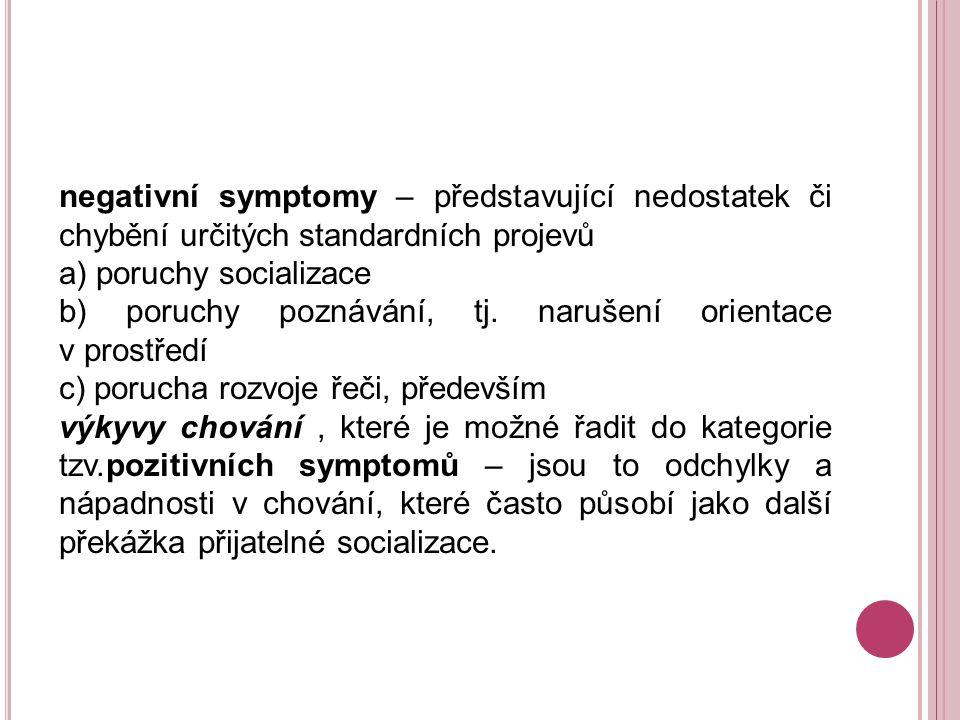negativní symptomy – představující nedostatek či chybění určitých standardních projevů a) poruchy socializace b) poruchy poznávání, tj.