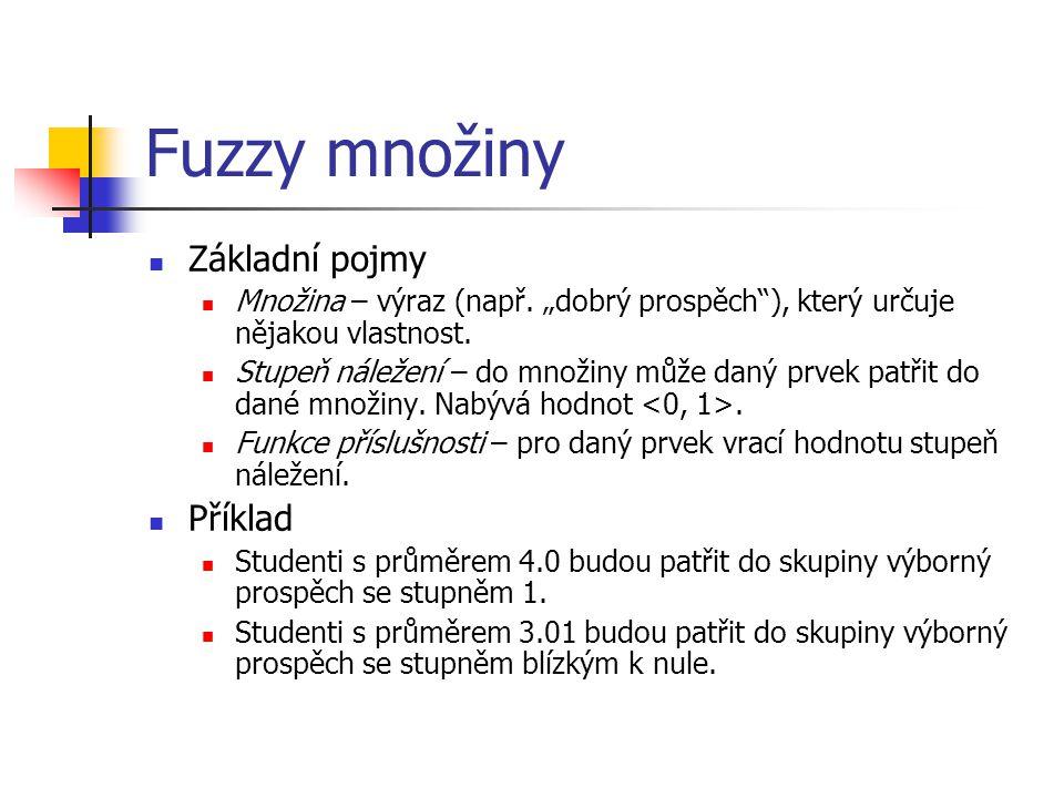 """Fuzzy množiny Základní pojmy Množina – výraz (např. """"dobrý prospěch""""), který určuje nějakou vlastnost. Stupeň náležení – do množiny může daný prvek pa"""