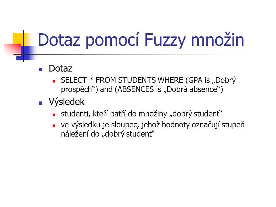 """Dotaz pomocí Fuzzy množin Dotaz SELECT * FROM STUDENTS WHERE (GPA is """"Dobrý prospěch"""") and (ABSENCES is """"Dobrá absence"""") Výsledek studenti, kteří patř"""