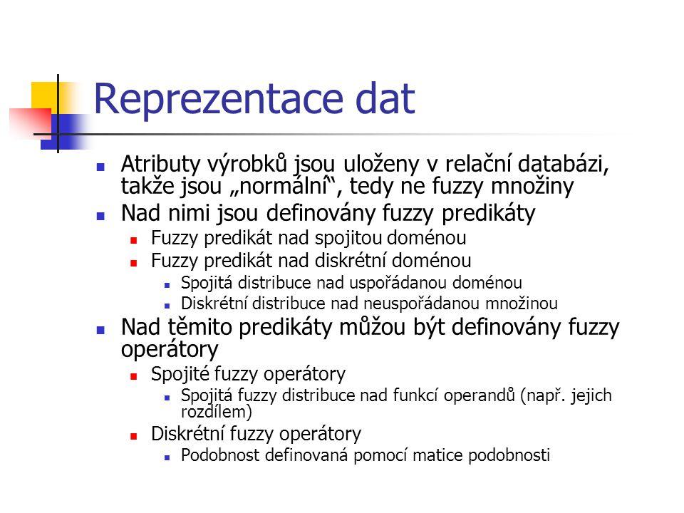 """Reprezentace dat Atributy výrobků jsou uloženy v relační databázi, takže jsou """"normální"""", tedy ne fuzzy množiny Nad nimi jsou definovány fuzzy prediká"""