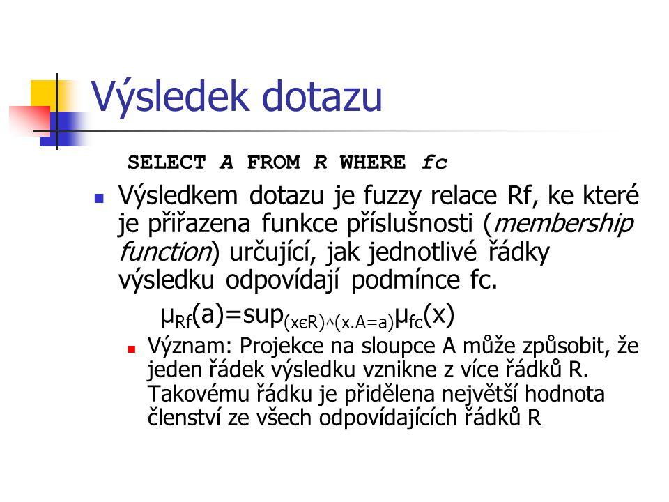 Výsledek dotazu SELECT A FROM R WHERE fc Výsledkem dotazu je fuzzy relace Rf, ke které je přiřazena funkce příslušnosti (membership function) určující