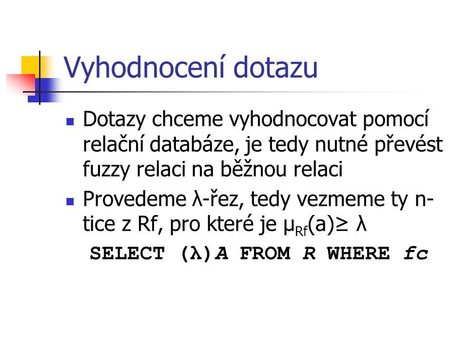 Vyhodnocení dotazu Dotazy chceme vyhodnocovat pomocí relační databáze, je tedy nutné převést fuzzy relaci na běžnou relaci Provedeme λ-řez, tedy vezme