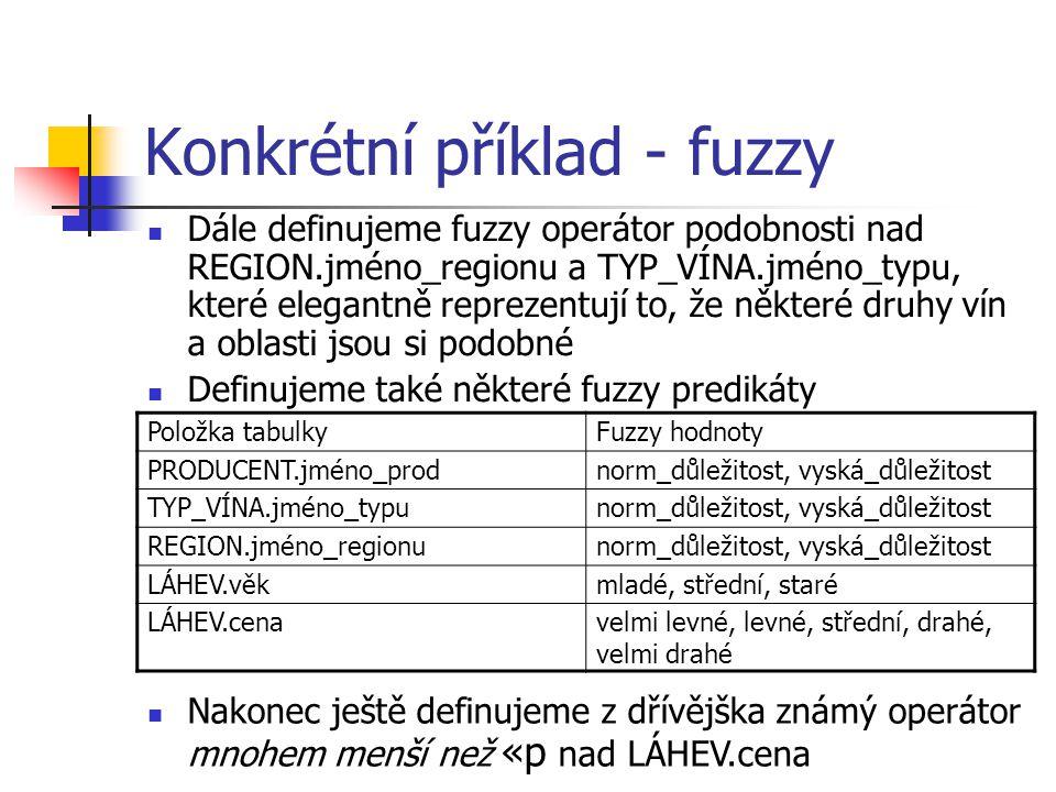 Konkrétní příklad - fuzzy Dále definujeme fuzzy operátor podobnosti nad REGION.jméno_regionu a TYP_VÍNA.jméno_typu, které elegantně reprezentují to, ž