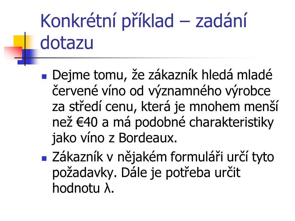 Konkrétní příklad – zadání dotazu Dejme tomu, že zákazník hledá mladé červené víno od významného výrobce za středí cenu, která je mnohem menší než €40