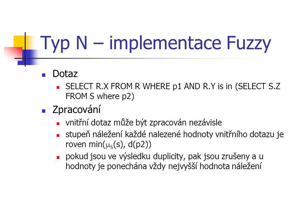 Typ N – implementace Fuzzy Dotaz SELECT R.X FROM R WHERE p1 AND R.Y is in (SELECT S.Z FROM S where p2) Zpracování vnitřní dotaz může být zpracován nez