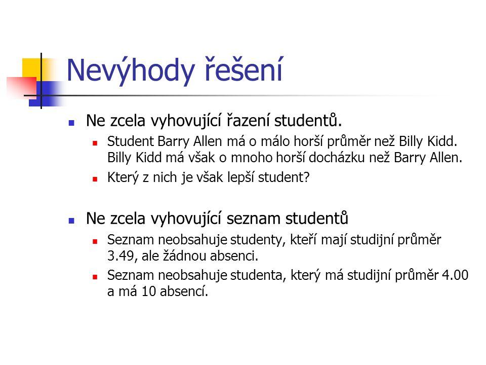 Nevýhody řešení Ne zcela vyhovující řazení studentů. Student Barry Allen má o málo horší průměr než Billy Kidd. Billy Kidd má však o mnoho horší dochá