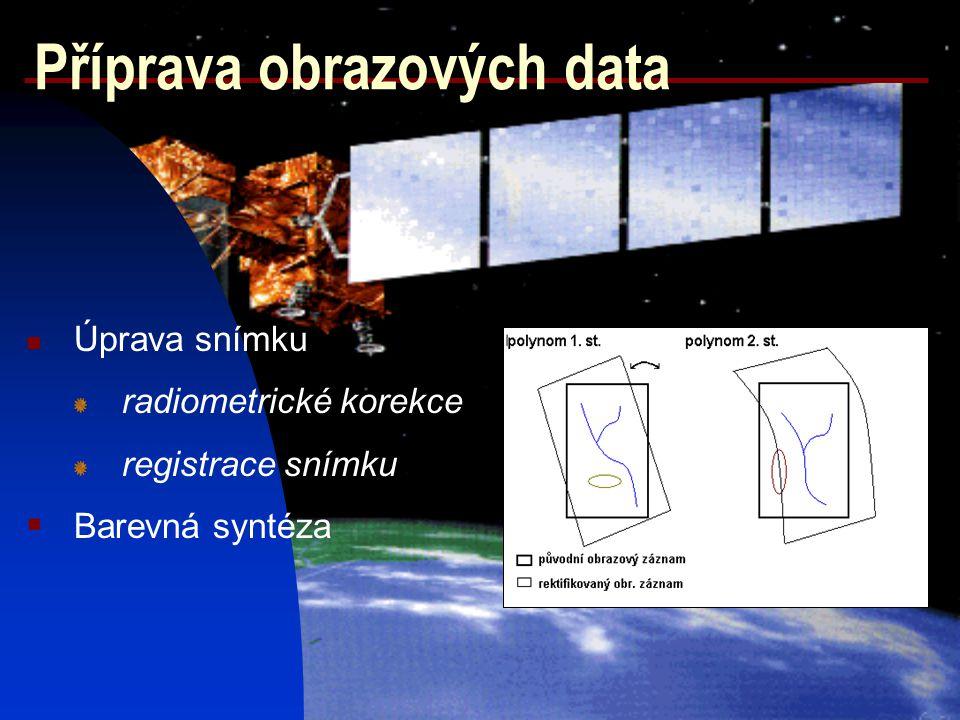 Příprava obrazových data Úprava snímku radiometrické korekce registrace snímku  Barevná syntéza