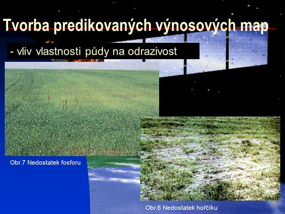 Tvorba predikovaných výnosových map - vliv vlastnosti půdy na odrazivost Obr.6 Nedostatek hořčíku Obr.7 Nedostatek fosforu