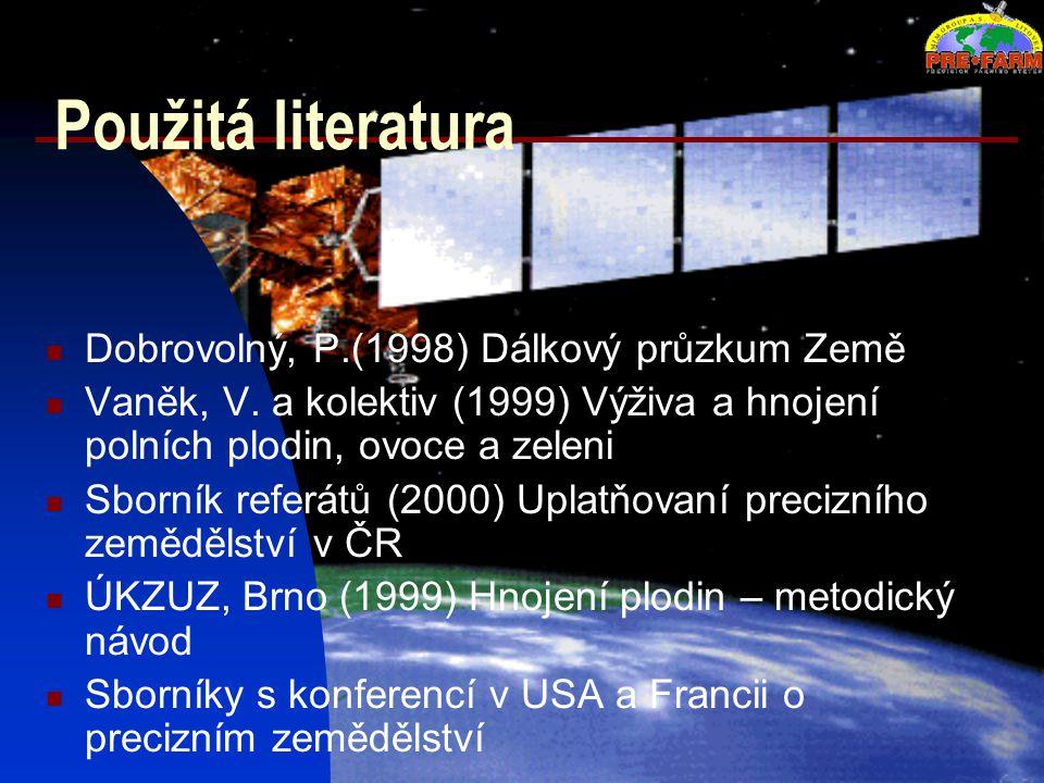 Použitá literatura Dobrovolný, P.(1998) Dálkový průzkum Země Vaněk, V. a kolektiv (1999) Výživa a hnojení polních plodin, ovoce a zeleni Sborník refer