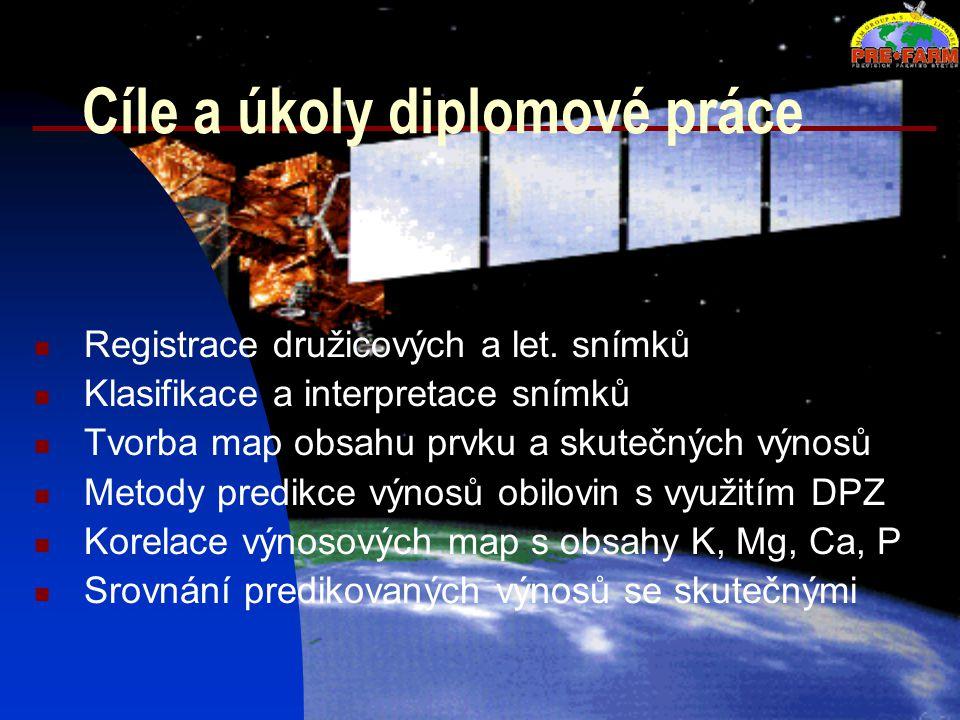 Cíle a úkoly diplomové práce Registrace družicových a let. snímků Klasifikace a interpretace snímků Tvorba map obsahu prvku a skutečných výnosů Metody