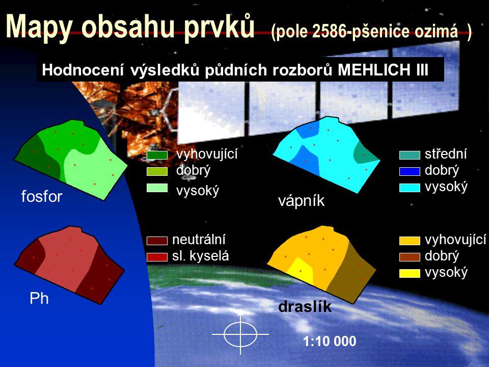 Mapy obsahu prvků (pole 2586-pšenice ozimá ) draslík fosfor Hodnocení výsledků půdních rozborů MEHLICH III Ph vápník neutrální sl. kyselá střední dobr