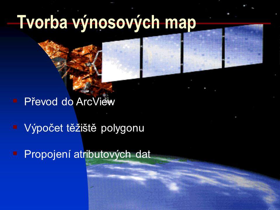 Tvorba výnosových map  Převod do ArcView  Výpočet těžiště polygonu  Propojení atributových dat