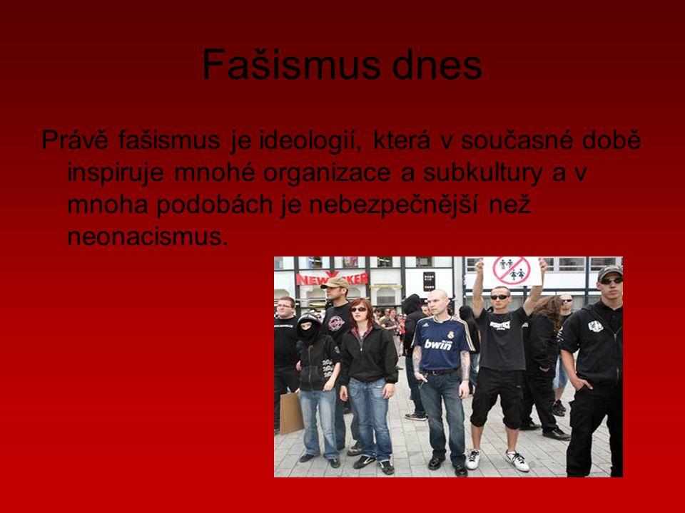 Fašismus dnes Právě fašismus je ideologií, která v současné době inspiruje mnohé organizace a subkultury a v mnoha podobách je nebezpečnější než neonacismus.