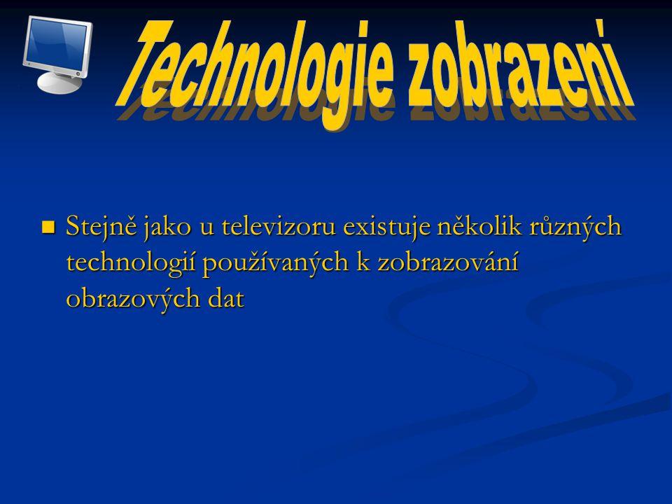 Stejně jako u televizoru existuje několik různých technologií používaných k zobrazování obrazových dat Stejně jako u televizoru existuje několik různých technologií používaných k zobrazování obrazových dat