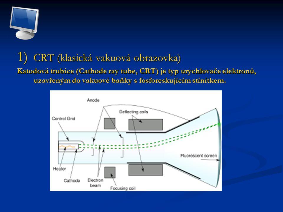1) CRT (klasická vakuová obrazovka) Katodová trubice (Cathode ray tube, CRT) je typ urychlovače elektronů, uzavřeným do vakuové baňky s fosforeskujícím stínítkem.