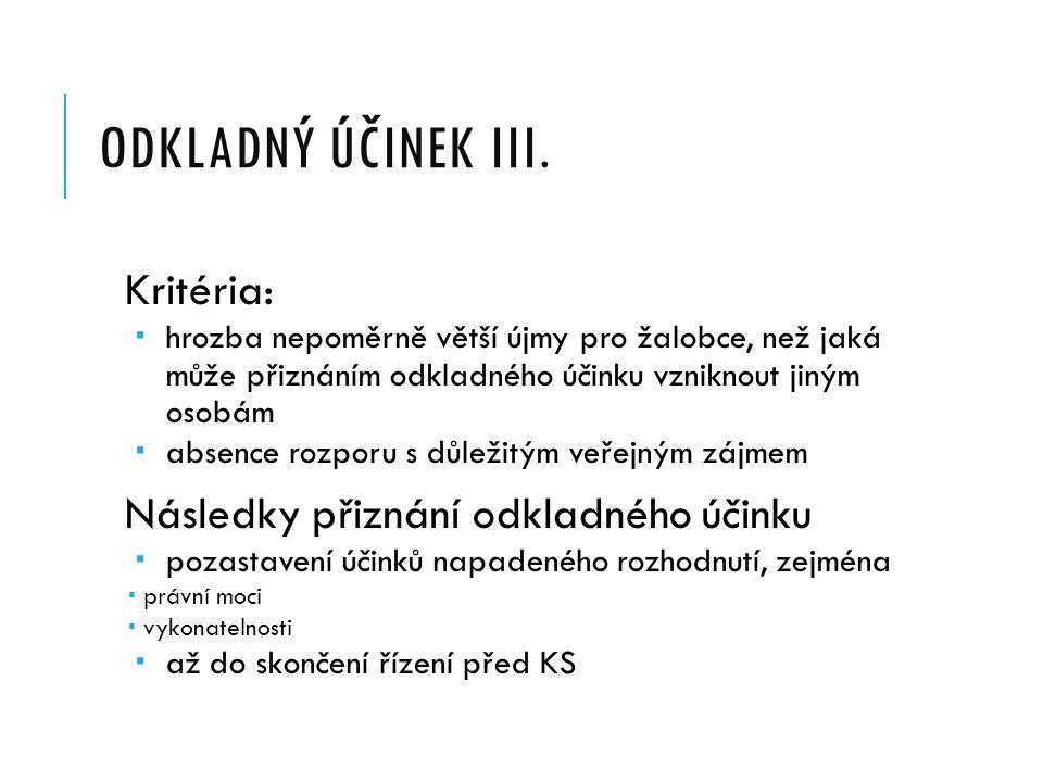 ODKLADNÝ ÚČINEK ŽALOBY II.