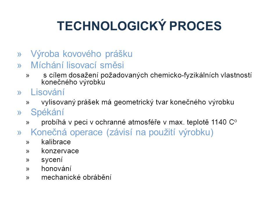 TECHNOLOGICKÝ PROCES »Výroba kovového prášku »Míchání lisovací směsi » s cílem dosažení požadovaných chemicko-fyzikálních vlastností konečného výrobku