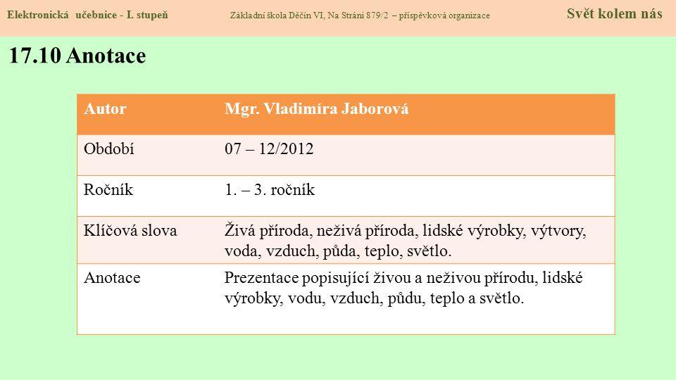 17.9 Použité zdroje, citace Elektronická učebnice - I. stupeň Základní škola Děčín VI, Na Stráni 879/2 – příspěvková organizace Svět kolem nás 1.http: