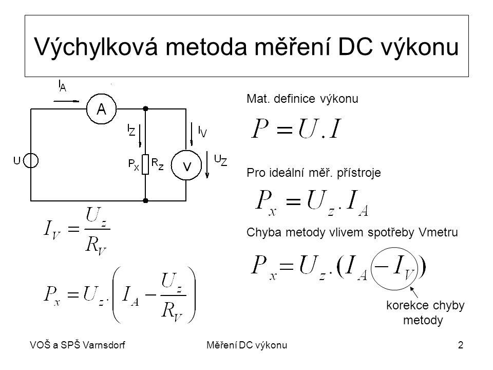 VOŠ a SPŠ VarnsdorfMěření DC výkonu2 Výchylková metoda měření DC výkonu Mat. definice výkonu Pro ideální měř. přístroje Chyba metody vlivem spotřeby V